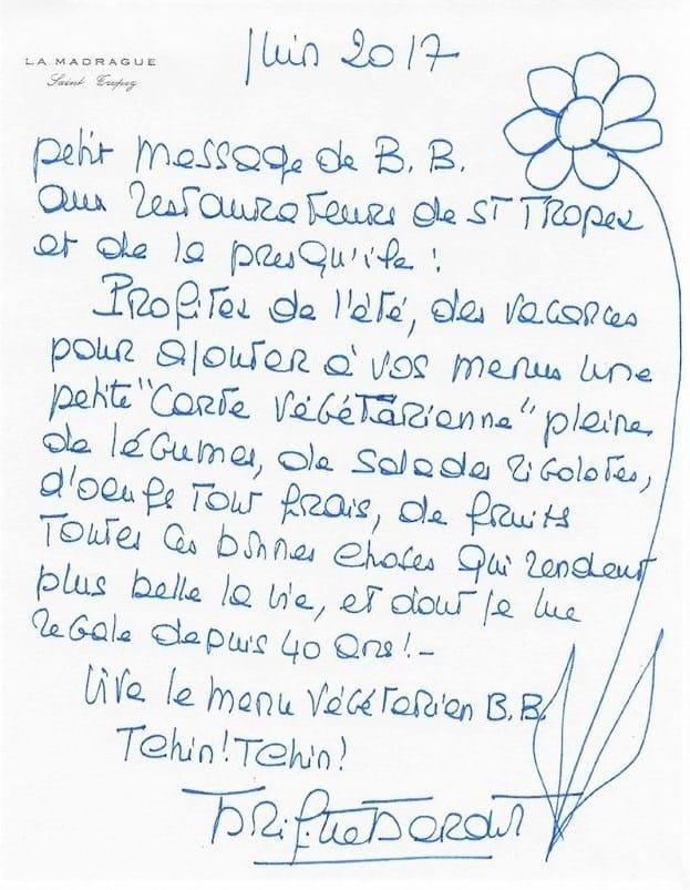 lettre brigitte bardot